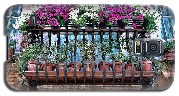 Galaxy S5 Case featuring the photograph Venice Flower Balcony by Allen Beatty