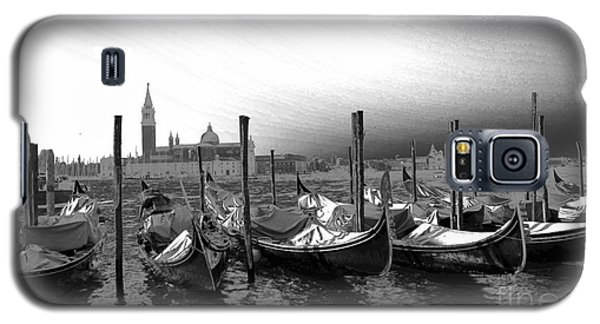 Galaxy S5 Case featuring the photograph Venice Gondolas Black And White by Rebecca Margraf