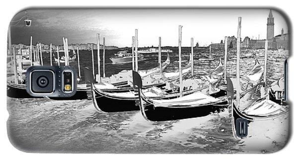 Galaxy S5 Case featuring the photograph Venice Gondolas Silver by Rebecca Margraf