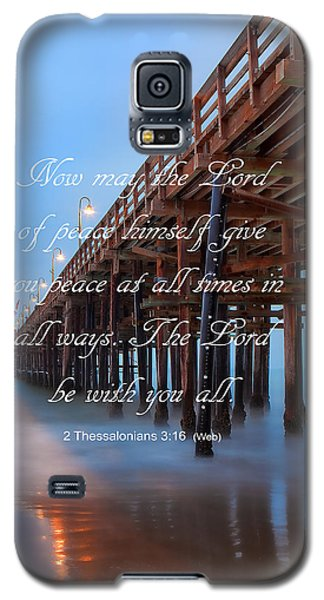 Galaxy S5 Case featuring the photograph Ventura Ca Pier With Bible Verse by John A Rodriguez