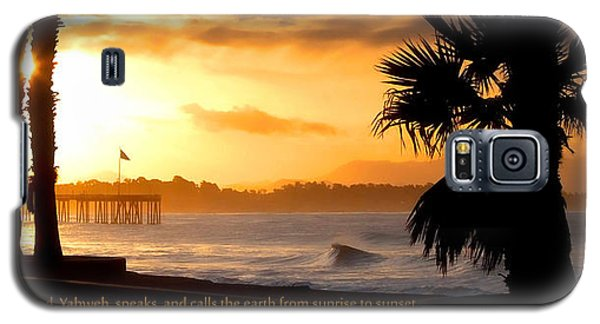 Galaxy S5 Case featuring the photograph Ventura California Sunrise With Bible Verse by John A Rodriguez