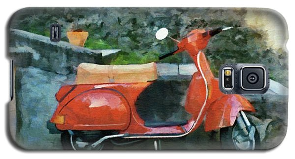 Galaxy S5 Case featuring the painting Vespa Parked by Jeff Kolker