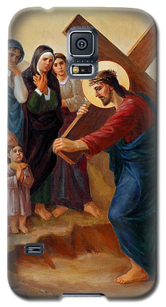 Galaxy S5 Case featuring the painting Via Dolorosa - Daughters Of Jerusalem - 8 by Svitozar Nenyuk