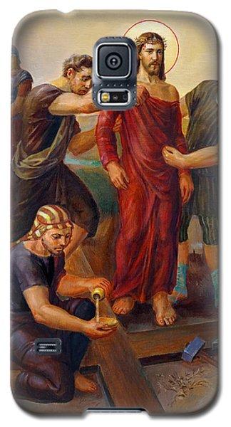 Galaxy S5 Case featuring the painting Via Dolorosa - Disrobing Of Christ - 10 by Svitozar Nenyuk