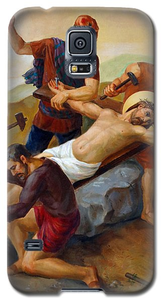 Galaxy S5 Case featuring the painting Via Dolorosa - Jesus Is Nailed To The Cross - 11 by Svitozar Nenyuk