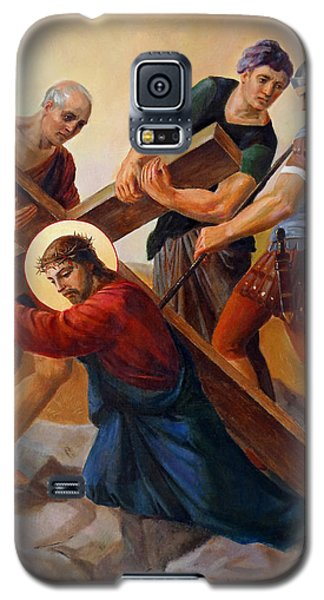 Galaxy S5 Case featuring the painting Via Dolorosa - Stations Of The Cross - 3 by Svitozar Nenyuk