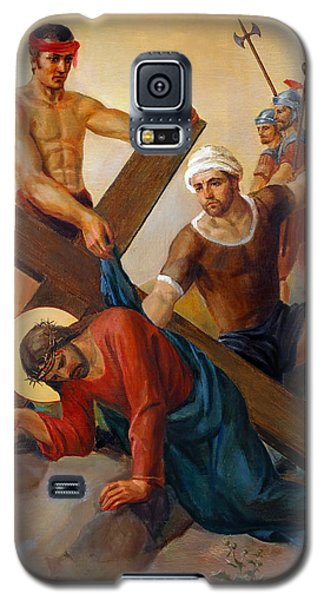 Galaxy S5 Case featuring the painting Via Dolorosa - The Second Fall Of Jesus - 7 by Svitozar Nenyuk