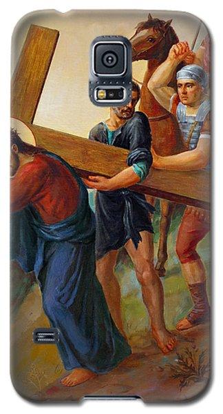 Galaxy S5 Case featuring the painting Via Dolorosa - Way Of The Cross - 5 by Svitozar Nenyuk