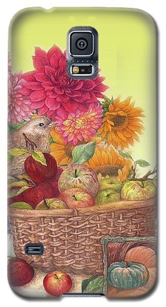 Galaxy S5 Case featuring the painting Vibrant Fall Florals And Harvest by Judith Cheng