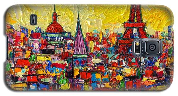 Vibrant Paris Abstract Cityscape Impasto Modern Impressionist Palette Knife Oil Ana Maria Edulescu Galaxy S5 Case