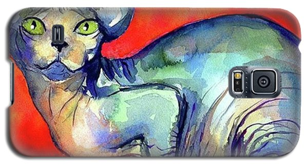 Vibrant Watercolor Sphynx Painting By Galaxy S5 Case
