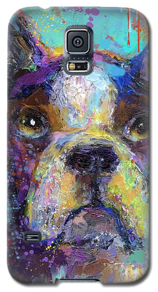 Vibrant Whimsical Boston Terrier Puppy Dog Painting Galaxy S5 Case
