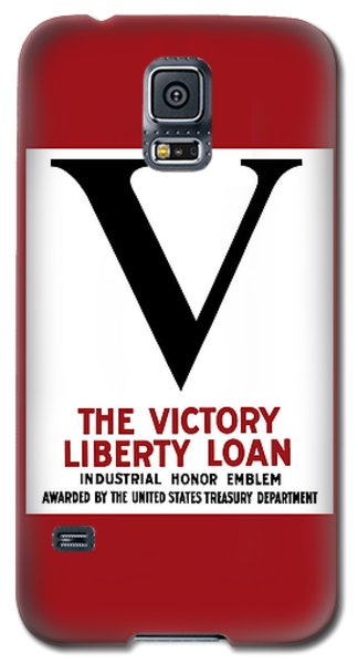 Galaxy S5 Case featuring the mixed media Victory Liberty Loan Industrial Honor Emblem by War Is Hell Store