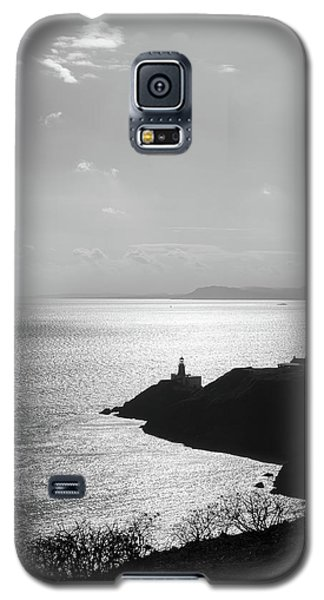 Galaxy S5 Case featuring the photograph View Of Howth Head With The Baily Lighthouse In Black And White by Semmick Photo