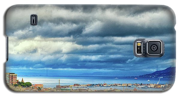 Galaxy S5 Case featuring the photograph View Of Messina Strait Sicily With Dramatic Sky by Silvia Ganora
