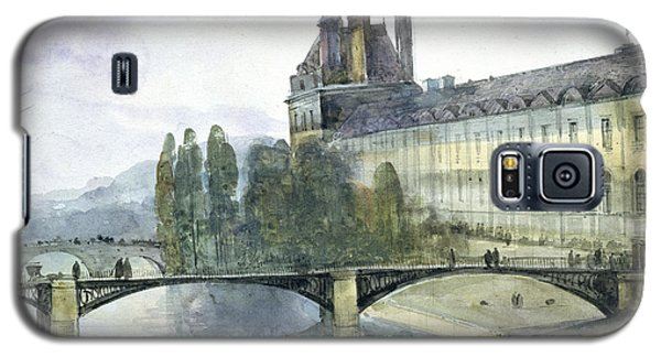 View Of The Pavillon De Flore Of The Louvre Galaxy S5 Case by Francois-Marius Granet