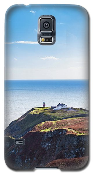 Galaxy S5 Case featuring the photograph View Of The Trails On Howth Cliffs With The Lighthouse In Irelan by Semmick Photo