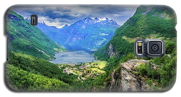 Galaxy S5 Case featuring the photograph View On Geiranger From Flydalsjuvet by Dmytro Korol