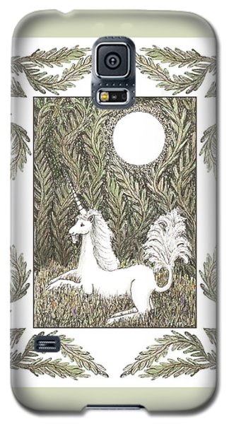 Galaxy S5 Case featuring the drawing Vigilant Unicorn by Lise Winne