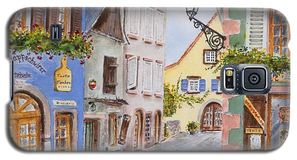 Galaxy S5 Case featuring the painting Village In Alsace by Mary Ellen Mueller Legault
