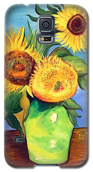 Galaxy S5 Case featuring the painting Vincent's Sunflowers by Patricia Piffath