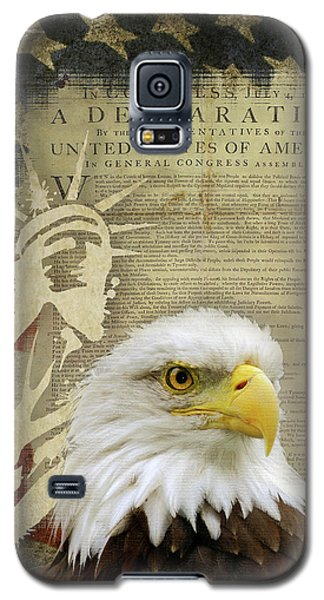 Vintage Americana Patriotic Flag Statue Of Liberty And Bald Eagle Galaxy S5 Case