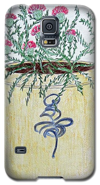Galaxy S5 Case featuring the painting Vintage Bee Sting Crock And Thistles by Kathy Marrs Chandler