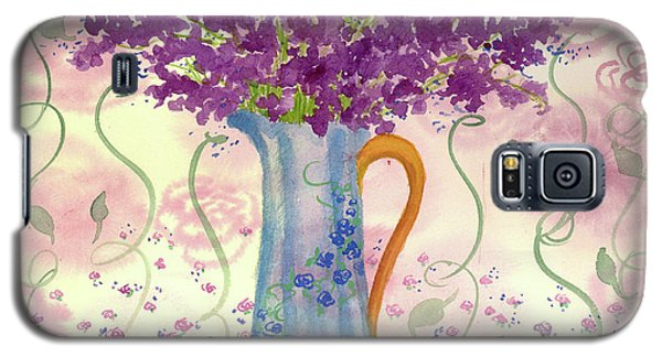 Galaxy S5 Case featuring the painting Vintage Blue Flower Bouquet by Cathie Richardson