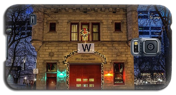 Vintage Chicago Firehouse With Xmas Lights And W Flag Galaxy S5 Case