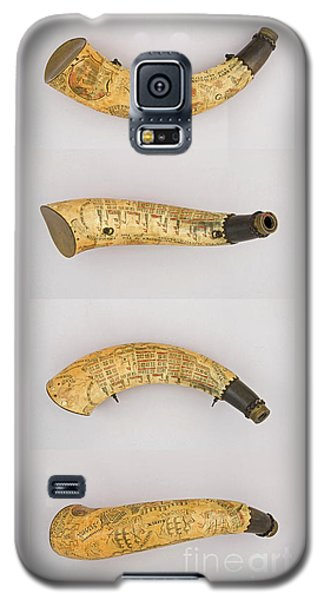 Galaxy S5 Case featuring the photograph Vintage 1767 Colonial American Powder Horn Four Views by John Stephens