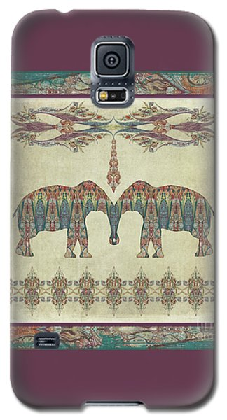 Galaxy S5 Case featuring the painting Vintage Elephants Kashmir Paisley Shawl Pattern Artwork by Audrey Jeanne Roberts