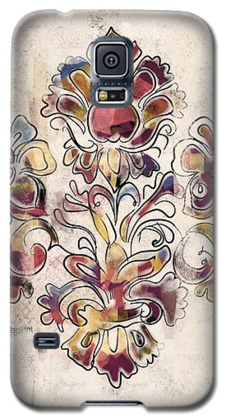 Galaxy S5 Case featuring the mixed media Vintage Fleur by Carrie Joy Byrnes