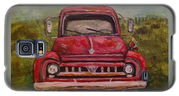 Galaxy S5 Case featuring the painting Vintage  Ford Fire Truck by Belinda Lawson