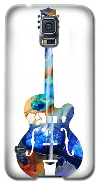 Music Galaxy S5 Case - Vintage Guitar - Colorful Abstract Musical Instrument by Sharon Cummings