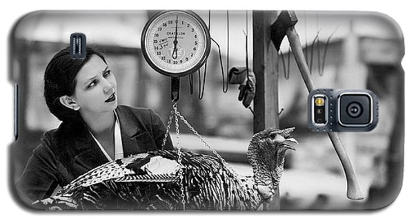 Vintage Holiday Card   Woman Weighing A Turkey Ahead Of The Holidays Galaxy S5 Case by American School