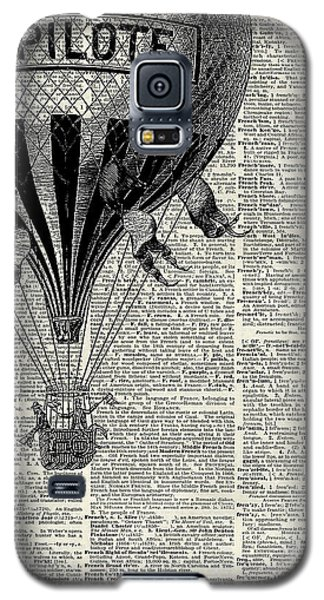 The Sky Galaxy S5 Case - Vintage Hot Air Balloon Illustration,antique Dictionary Book Page Design by Anna W