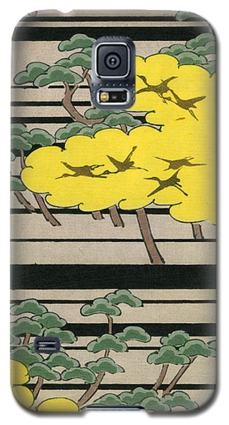 Vintage Japanese Illustration Of An Abstract Forest Landscape With Flying Cranes Galaxy S5 Case