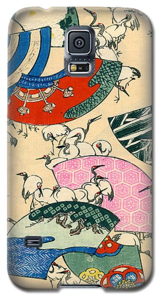 Vintage Japanese Illustration Of Fans And Cranes Galaxy S5 Case by Japanese School
