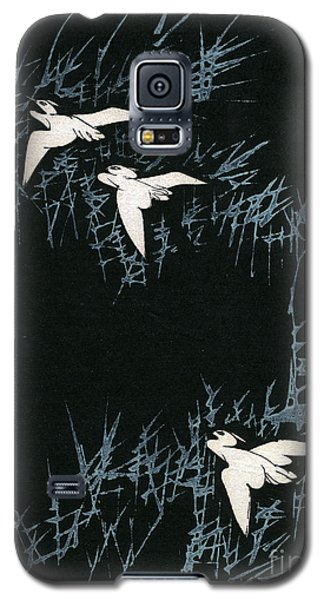 Vintage Japanese Illustration Of Three Cranes Flying In A Night Landscape Galaxy S5 Case by Japanese School