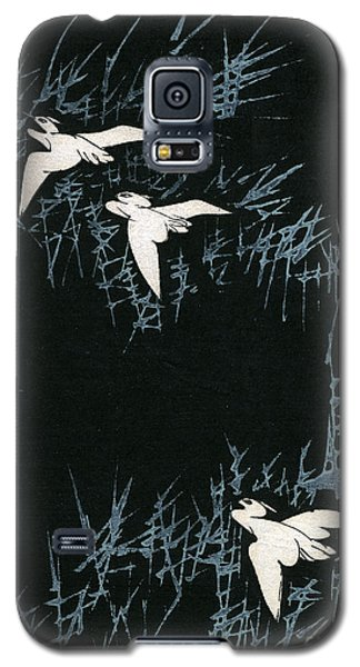 Vintage Japanese Illustration Of Three Cranes Flying In A Night Landscape Galaxy S5 Case