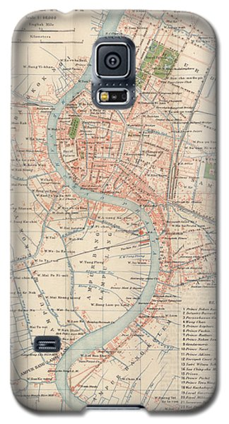 Galaxy S5 Case featuring the drawing Vintage Map Of Bangkok, Thailand From 1920 by Blue Monocle
