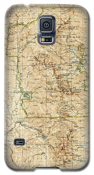 Galaxy S5 Case featuring the drawing Vintage Map Of Rocky Mountain National Park - Colorado - 1919/1940 by Blue Monocle