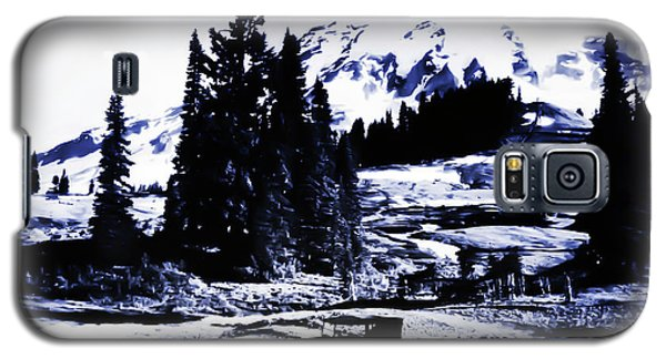 Galaxy S5 Case featuring the photograph Vintage Mount Rainier With Antique Car Early 1900 Era... by Eddie Eastwood
