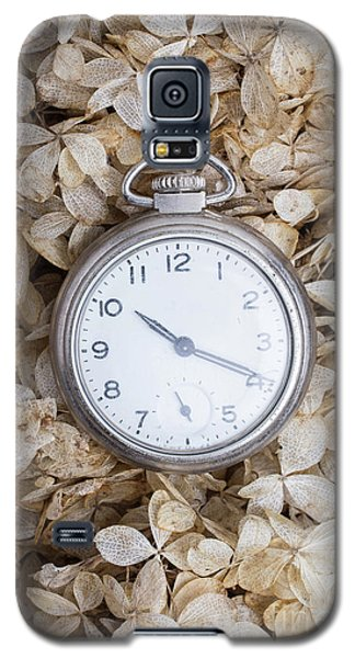 Galaxy S5 Case featuring the photograph Vintage Pocket Watch Over Dried Flowers by Edward Fielding