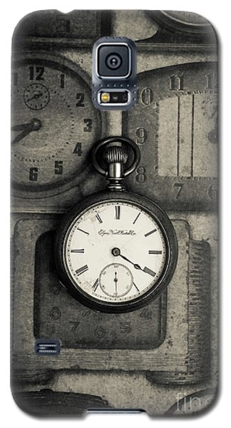 Galaxy S5 Case featuring the photograph Vintage Pocket Watch Over Old Clocks by Edward Fielding