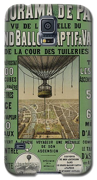 Galaxy S5 Case featuring the photograph Vintage Poster Of Great Balloon View Of Paris 1878 by John Stephens