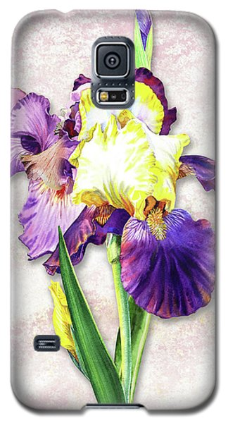 Galaxy S5 Case featuring the painting Vintage Purple Watercolor Iris by Irina Sztukowski