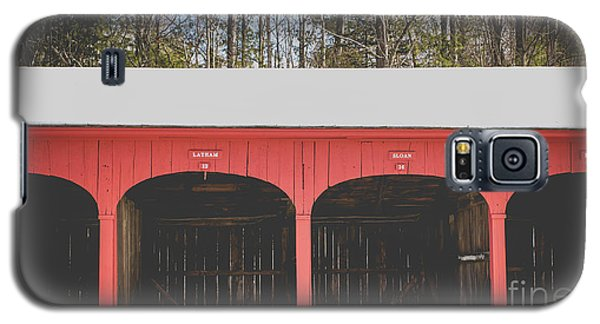Galaxy S5 Case featuring the photograph Vintage Red Carriage Barn Lyme by Edward Fielding