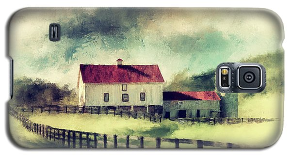 Galaxy S5 Case featuring the digital art Vintage Red Roof Barn by Lois Bryan