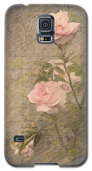 Vintage Rose Poster Galaxy S5 Case by Liz  Alderdice